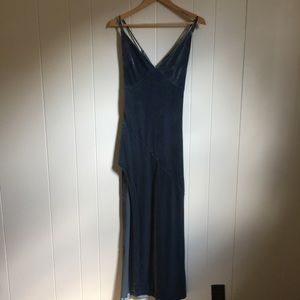 Forever 21 velvet blue maxi slip dress medium
